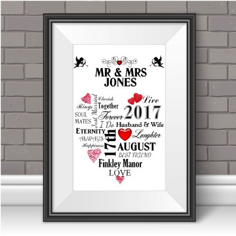 Personalised Wedding Print Word Art Anniversary Keepsake Marriage Gift N101 Unframed